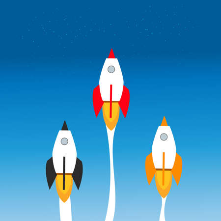 Business competition concept. Flat style. Rockets racing to space.