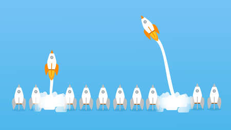 Think differently - Being different, taking risky, move for success in life -The graphic of rocket also represents the concept of courage, enterprise, confidence, belief, fearless, daring. Illustration