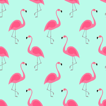 Flamingo seamless pattern on mint green background. Pink flamingo vector background design for fabric and decor. Stock Photo