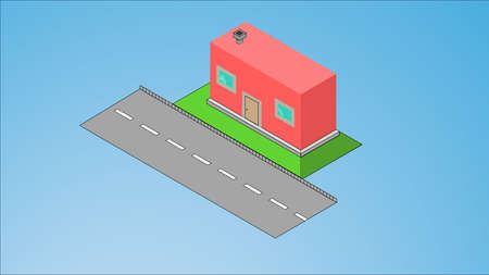 Little isometric house with shadow on turquoise blue background. Real estate, rent and home concept. EPS 8 vector illustration, no transparency.