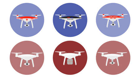 Drones icons with unmanned aircrafts of different purpose police, medic, fire, delivery etc. vector illustration