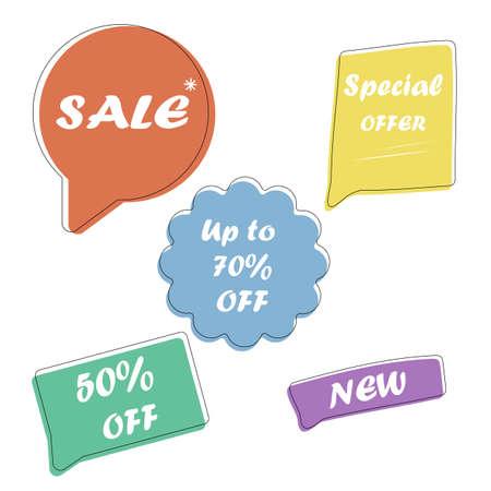 Set Sale speech bubble banners, discount tags design template, app icons, vector illustration.