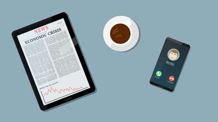 Bad news for economics and Business down chart, negative arrow on tablet while boss calls. Concept photo