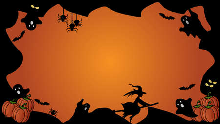 Horizontal Halloween black and orange element border and background template