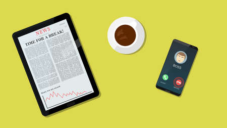 Take a break says the article. Decline boss call. Take a break concept with coffee, tablet and smartphone. Vector illustration