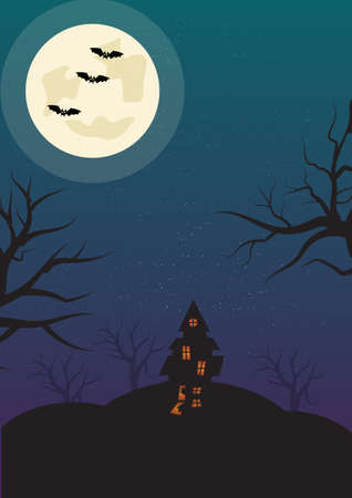 Halloween Vertical Background with Witch, Bats Haunted House and Full Moon. Flyer or Invitation Template for Halloween Party with Empty Space for your Texr. Vector illustration.