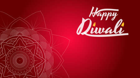 Diwali Festival Greeting card, Flyer, Background Template with Mandala