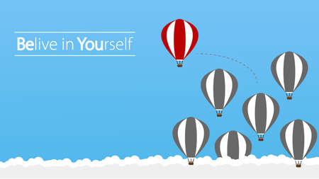 Belive in Yourself and Dare to be Yourself. Take Risk in Life and Move for Your Goals. The Hot Air Balloon a Concept of Determination, Courage, Belief, Enterprise Life, Self Confidence, Fearless