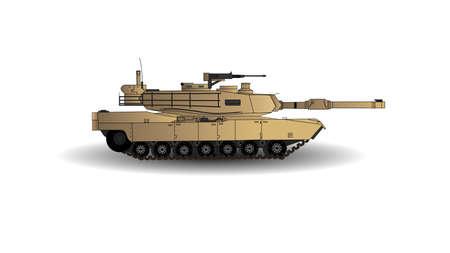 Abrams Hauptkampfpanzer Vektor-Illustration. Dies ist der Hauptpanzer der amerikanischen Armee. Auf weißem Hintergrund isoliert.