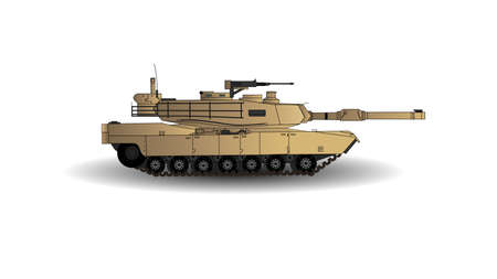 Abrams Main Battle Tank Vector Illustration. This is the Main Battle Tank of the American Army. Isolated on White Background.
