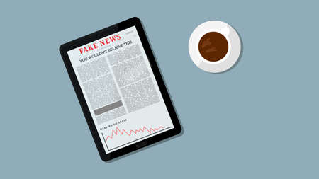 Internet Fake News Illustration. Fake Headline on Tablet. People Reading Fake News Concept. Coffee and Table in the Background
