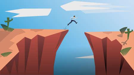 Cree en ti mismo y atrévete a ser tú mismo. Arriesgue la vida y muévase por sus metas. El hombre saltador es un concepto de determinación, coraje, fe, vida empresarial, confianza en sí mismo, intrépido. Ilustración de vector