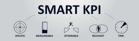 Banner de concepto de KPI inteligente con iconos. Indicador clave de rendimiento que utiliza métricas de inteligencia empresarial para medir el logro Ilustración de vector