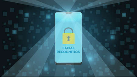 Smartphone with Facial Recognition Concept, Login or Sign Up. Smartphone Screen with Facial Scanner. Responsive web template design