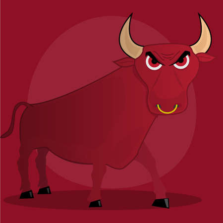 Angry Cartoon Bull. Illustration on red background