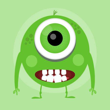 Cute Little Cartoon Monster. Green Smiling Little Monster. Ilustrace