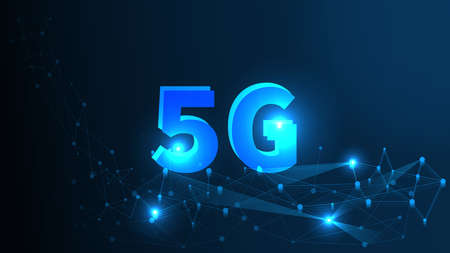 5G Network Wireless Systems and Internet All Device Communication Network Concept. Artificial Intelligence and Machine Learning Concept 向量圖像