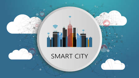 Smart City Design Concept. Network Connections, Colorful Technology Background 向量圖像