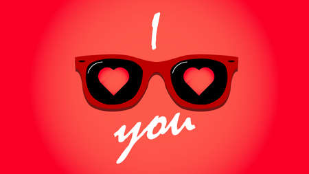 Happy Valentine's Day. Sunglasses with hearts. Love concept. Vector illustration