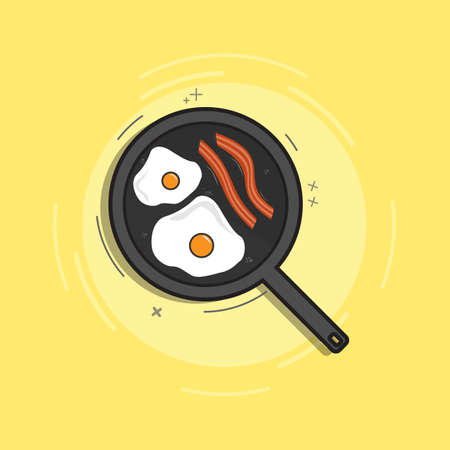 Breakfast concept. Appetizing delicious breakfast, fried egg with bacon in a Pan. Vector illustration flat design