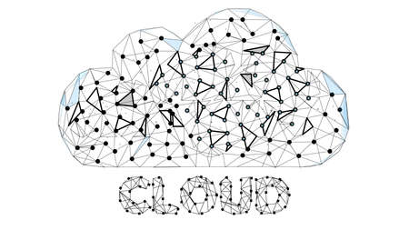 Cloud Technology. Cloud Computing, Big Data or Cloud Computing Concept. Abstract Digital Background. Wireframe Cloud Storage Sign on Dark Blue Background. Vector Illustration or Background