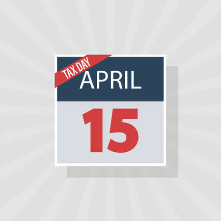 USA Tax Day Warning Icon, April 15th, the Federal Income Tax Deadline Reminder on a Flat Calendar Design. EPS10 Vector Illustration 向量圖像