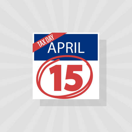 USA Tax Day Warning Icon, April 15th, the Federal Income Tax Deadline Reminder on a Flat Calendar Design with Red Marker. EPS10 Vector Illustration