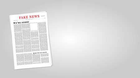 Ilustración de Vector Eps10 de periódico de noticias falsas. Plantilla de noticias falsas.