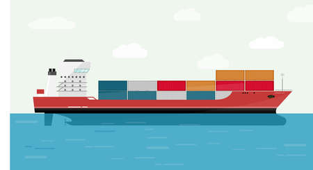 Cargo Ship Container in the Ocean Transportation, Shipping Freight Eransportation. Vector Illustration. 向量圖像