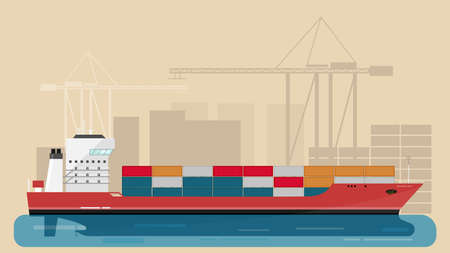 Cargo Sea Port with Cargo Freight Ship and Harbour Port Cranes and City Elements. Vector Illustration.