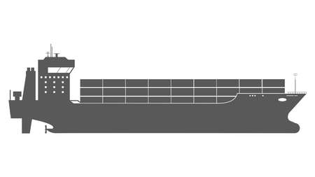 Cargo Ship Icon with Container Loads in the export-import Shipping Process.