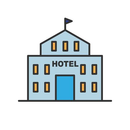 Hotel glyph icon isolated on white. Vector illustration