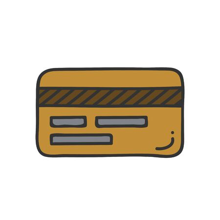 Back view of Credit card icon. Thin line style. Isolate on white background.