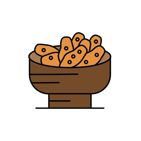 Bread in a basket glyph icon isolated on white. Ilustracja