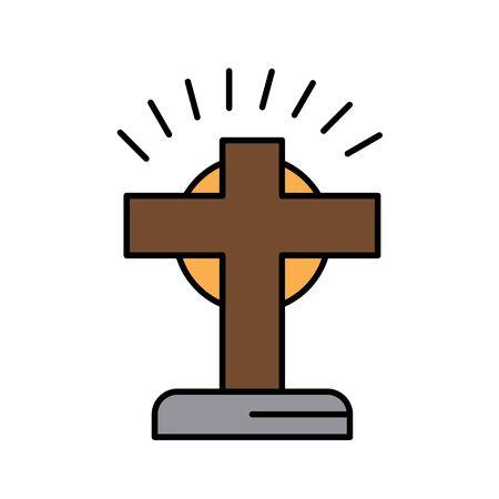 Christian symbolical Cross with sunshine at the back glyph icon isolated on white. Ilustração