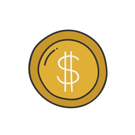 Dollar coin thin line icon isolated on white. Vector illustration