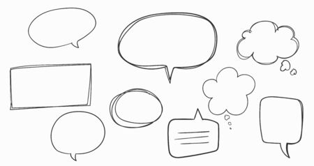 Hand drawn Speech Bubbles on white background.