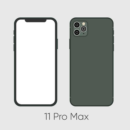 New Smartphone 11 Pro Max Green both sides isolated on black background. Vector illustration.