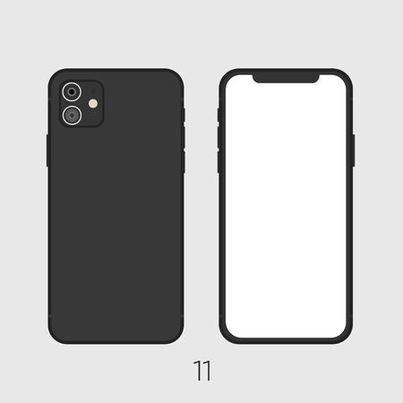 New Smartphone 2019 model 11 black isolated on black.