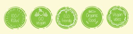 Healthy lifestyle icons on yellow background. Go vegan and organic food. Vector illustration