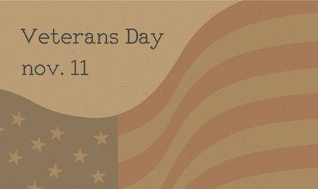 Veterans Day celebration poster with Typewritten text and US flag