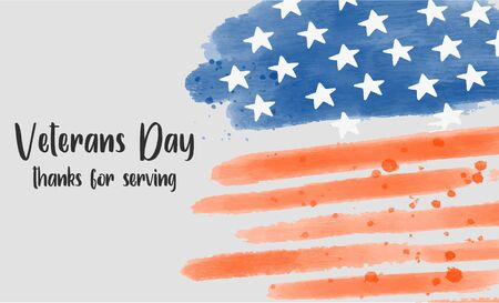 Veterans Day watercolor Banner with American flag on the background. 向量圖像