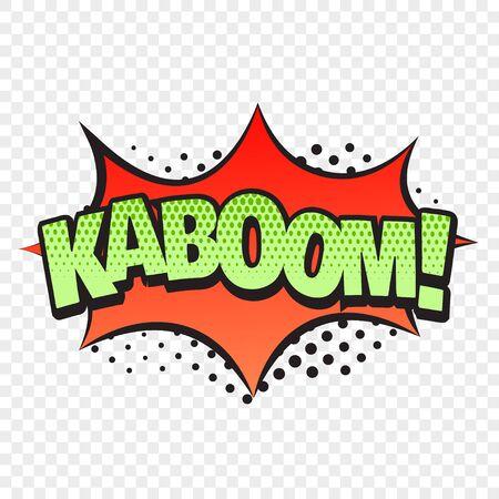 Palabra de estilo cómico de Kaboom aislada sobre fondo transparente. Ilustración vectorial