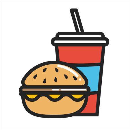 Thin line glyph Hamburger and Soda water icon isolated on white