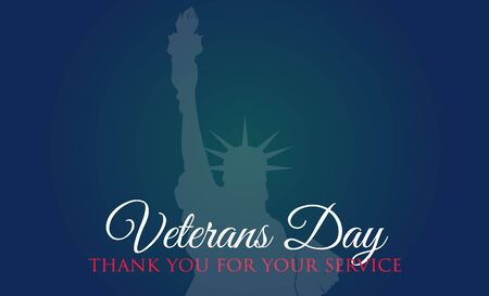 Veterans Day celebration illustration. Liberty statue on HD background banner. Remember and honor. Vector illustration
