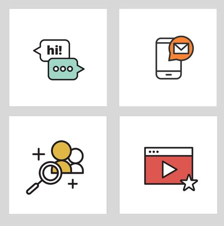 Thin line Various Social Media Icons Set. Vector illustration