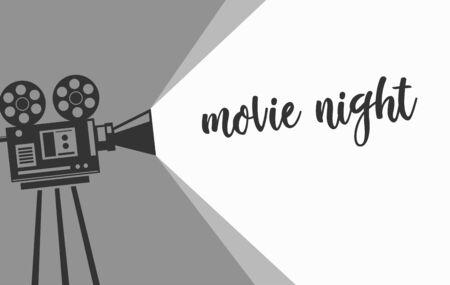 Movie night banner with vintage camera. Monochrome design. Vector illustration. Vetores