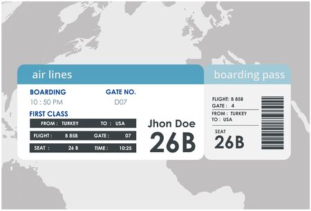Ilustración de billete de avión. Diseño de tarjeta de embarque de avión. Diseño de tarjeta de embarque de avión. Ilustración de vector de billete de avión. Ilustración de vector