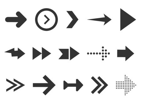 Black arrows set isolated on white background. Collection for web design, interface, UI etc. Vector illustration
