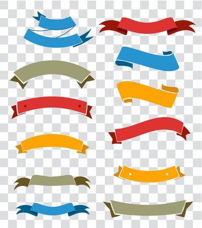 Ribbon elements set isolated on transparent background. Starburst label. Vintage. Modern simple ribbons collection. Vector illustration.